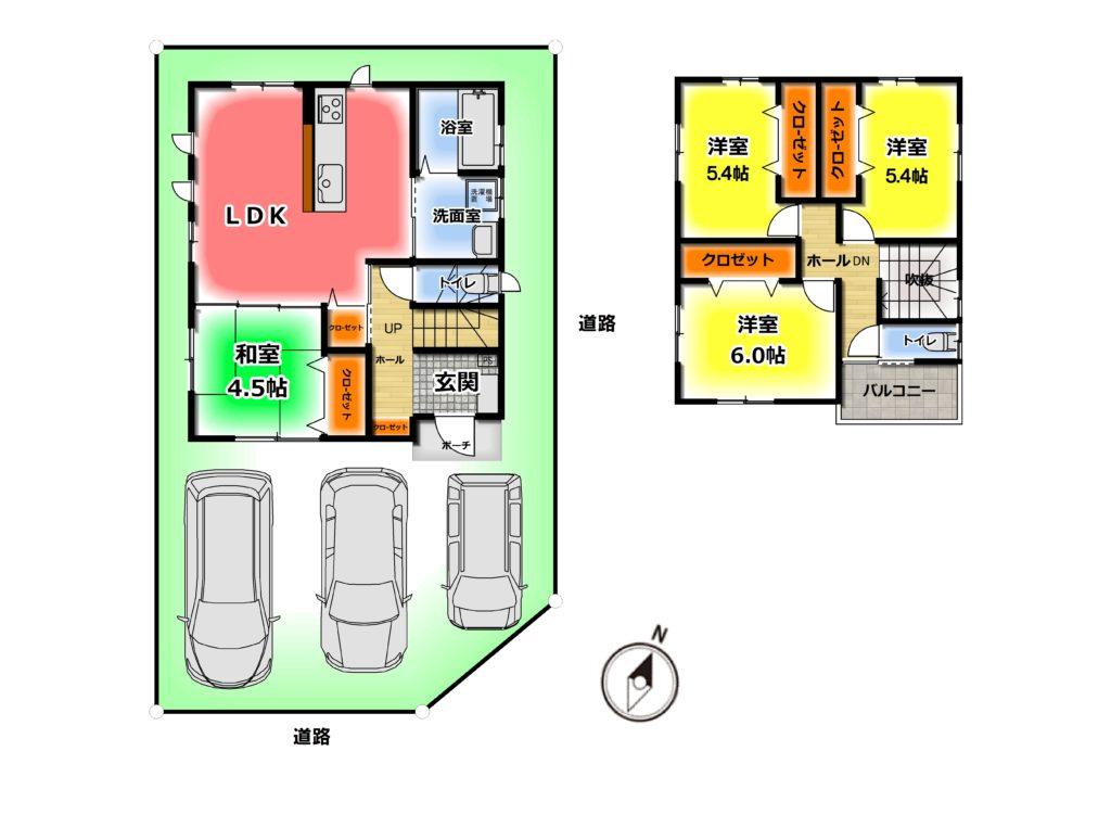 2280万円、4LDK、土地面積110.95m2、建物面積89.42m2 和室のある4LDKです^^ 2階トイレ、食洗機、浴室乾燥機、、南向きバルコニーなど、人気の設備を搭載した物件です♪(間取)