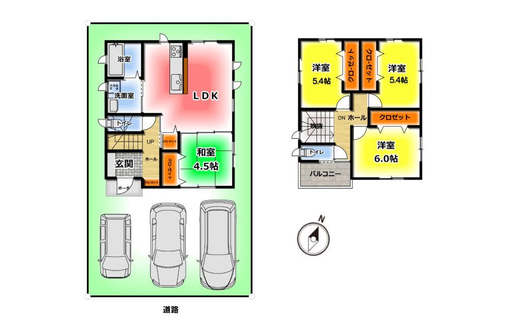 2280万円、4LDK、土地面積112.87m2、建物面積89.42m2 和室のある4LDKです^^ 2階トイレ、食洗機、浴室乾燥機、、南向きバルコニーなど、人気の設備を搭載した物件です♪(間取)
