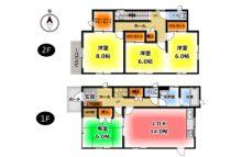 2階の6帖の洋室は現在繋がっています。広いお部屋としても使えますし、壁を取り付けて2部屋として使うこともできます。(間取)